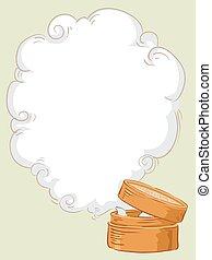 piroscafo, somma fioca, fumo, cornice, illustrazione