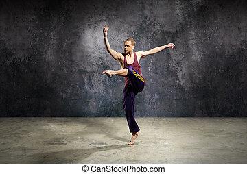 pirouette, draußen, tanz