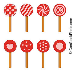 piruletas - red and white lollipop with different forms