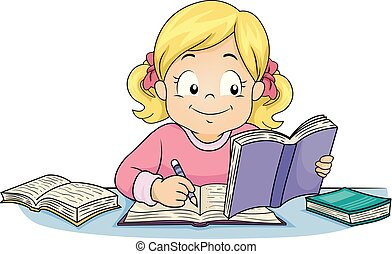 pisać, dziewczyna, etiuda, ilustracja, koźlę