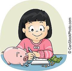 pisać, dziewczyna, oszczędności, ilustracja, koźlę