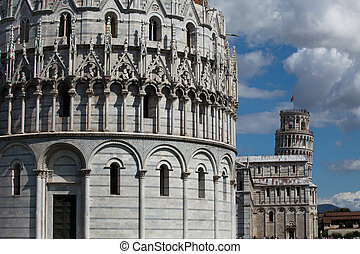Pisa - Baptistery, Leaning Tower and Duomo in the Piazza dei Miracoli