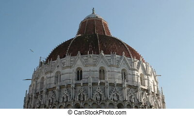 the Baptistery in Miracles square, Pisa, Italy