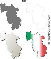 Pisa blank detailed outline map set - Pisa province blank...