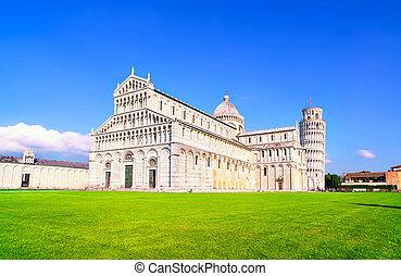 pisa., carrée, unesco, cathédrale, italie, héritage, toscane, miracle, site., pise, penchant, duomo, mondiale, vue., europe., tour