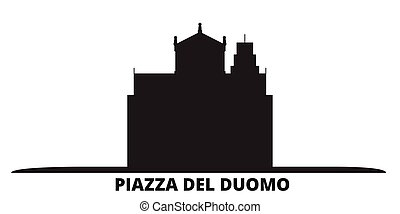 pisa, cidade, illustration., isolado, viagem, piazza,...