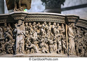 Pisa - Duomo interior. Pulpit by Giovanni Pisano