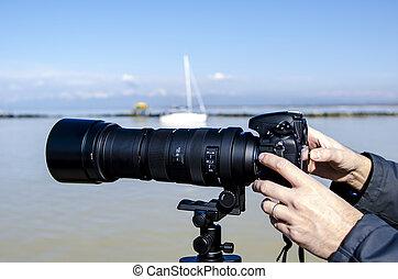 pisa, feb, 16:, fényképezőgép, noha, teleobjektív, lencsék, marina, di, pisa, 16, február, 2013., teleobjektív, lencsék, vannak, használt, által, fényképész, fordíts, elfog, legyőz, -ban, egy, távolság.