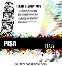 Pisa grunge poster - Pisa, vintage travel destination grunge...