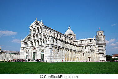 Pisa, Italy - Cathedral and Tower of Pisa in Miracoli square...