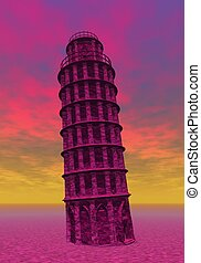 Pisa, Italy - Famous Pisa tower in colorful background,...
