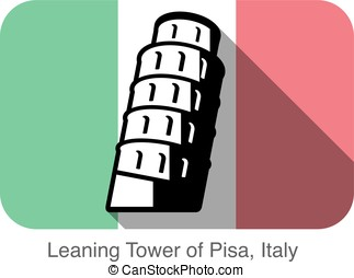 pisa. Landmark of the world series, background is Italy national flag