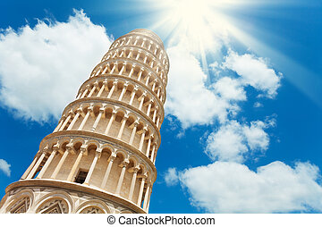 Pisa leaning tower from low angle and sky with sun