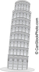 Pisa Leaning tower illustration