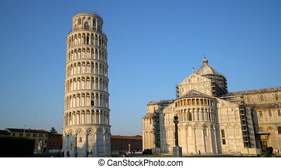 Leaning Tower of Pisa in Pisa, Italy. Leaning Tower of Pisa known worldwide for its unintended tilt , travel destination of Italy. The bell tower is situated behind The Pisa Cathedral.