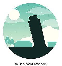 pisa, lua, noturna, marco, torre, italiano