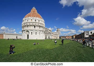 Pisa, Piazza dei miracoli, with the Basilica and the leaning tower.