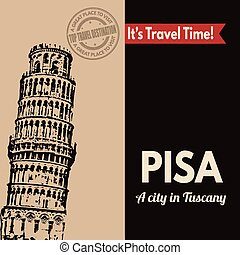 Pisa, retro touristic poster