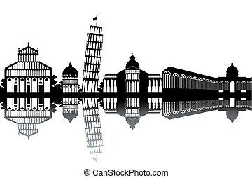 Pisa skyline - black and white vector illustration