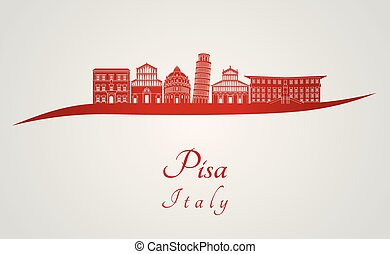 Pisa skyline in red and gray background in editable vector...