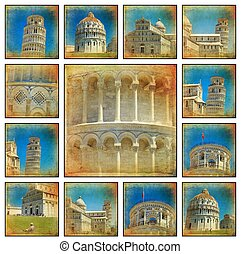 Pisa - Collage of Piazza dei Miracoli complex with the...