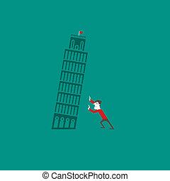 pisa, torre, con, un, turista