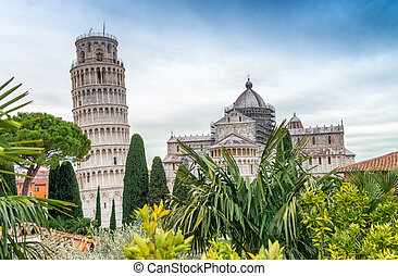 Pisa Tower and Cathedral from ancient medieval city walls