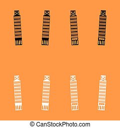 Pisa tower black and white set icon . - Pisa tower it is...
