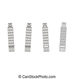 Pisa tower grey set icon . - Pisa tower it is grey set icon...