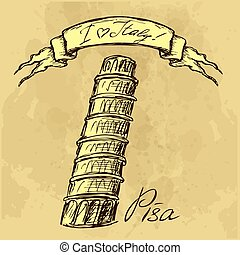 Pisa tower hand drawing sketch