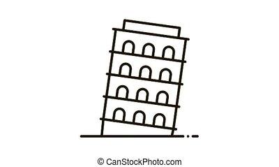Pisa Tower Icon Animation. black Pisa Tower animated icon on white background