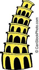 Pisa Tower icon cartoon - Pisa Tower icon in cartoon style...
