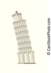 Pisa tower illustration - Pisa Tower in flat style isolated...