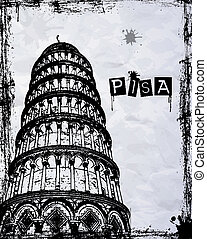 Pisa Tower - Pisa, Piazza dei miracoli, with the Basilica...