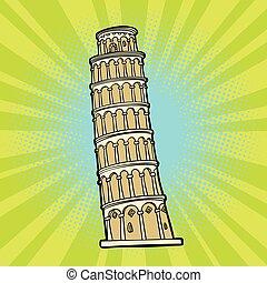 pisa., turismo, torre, itália