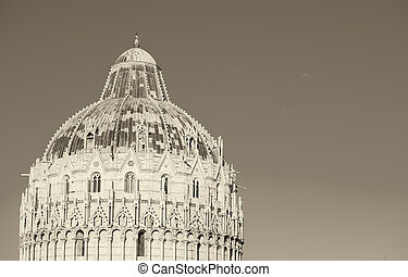 Pisa, Tuscany. Detail of Baptistery in Square of Miracles