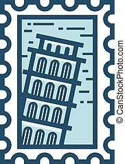 Pisa vector stamp