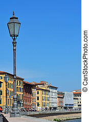 Pisa view with street lamp