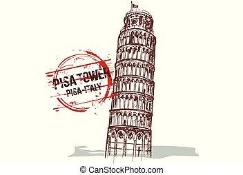 PisaCard - Pisa Tower. Toscana, Italy city design. Hand...