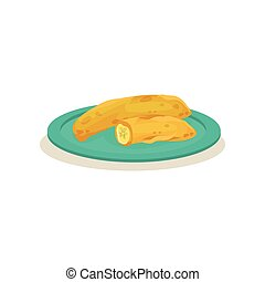 Pisang goreng or Malaysian banana fritters. Delicious snack. Traditional dish of Asian cuisine. Flat vector icon