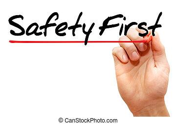 pisanie, bezpieczeństwo, handlowy, pierwszy, ręka, pojęcie