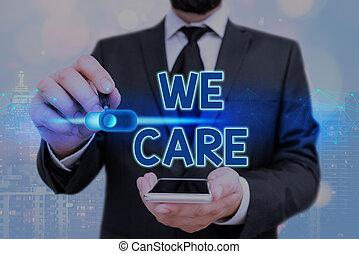 pisanie, care., someones, needs., słowo, troska, handlowy, tekst, ich, że, pojęcie, my, udzielanie, życie, miłując