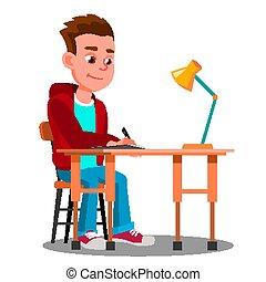 pisanie, chłopiec, na stole, z, lampa kasetki, vector., odizolowany, ilustracja