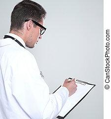 pisanie, doktor, jasny, samiec, obraz, recepta