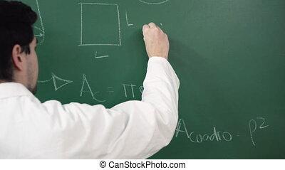 pisanie, matematyczna formułka, blackboard., wręczać...