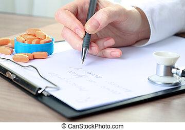 pisanie nakaz, doktor, poza, rx, biały, labcoat