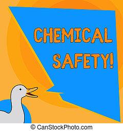 pisanie, nuta, pokaz, chemiczny, safety., handlowy, fotografia, showcasing, praktyka, pomniejszając, ryzyko, ekspozycja, chemikalia, jakiś, środowisko, fotografia, od, kaczka, rozmawianie, z, nierówny, formułować, czysty, błękitny, mowa, balloon.