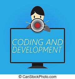 pisanie, nuta, pokaz, kodowanie, i, development., handlowy, fotografia, showcasing, programowanie, gmach, prosty, montaż, programy