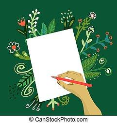pisanie, papier, ręka, kwiaty, ołówek