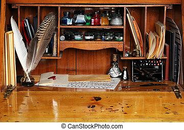 pisanie, stary, biurko